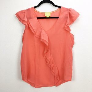 Anthropologie Maeve Coral Ruffle Front Silk Top